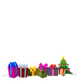 colourful gift boxes on white snow christmas or vector image vector image
