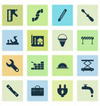 construction icons set with construction hoist vector image vector image