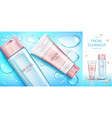cosmetic bottles mockup banner beauty cosmetics vector image vector image