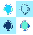 customer support icon set in flat and line style vector image