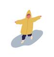 cute little cartoon child in raincoat running on vector image