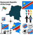 Democratic Republic of the Congo map vector image vector image