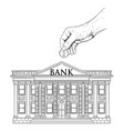 drawing hand putting coin in classic bank vector image