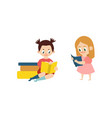 flat girls reading book set vector image vector image