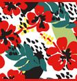 floral seamless pattern poppies with green leaves vector image