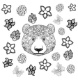 Flower panda coloring page vector image vector image