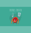 funny sausage steak and chicken leg friend vector image vector image