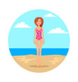 girl in swimsuit with polka dot pattern on beach vector image vector image