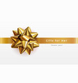 gold bow ribbon realistic gifts for her vector image vector image