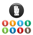 hand three icons set color vector image vector image
