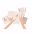 hands holding paper sheet with handwritten text vector image vector image