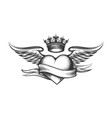 heart with crown wings and ribbon tattoo vector image vector image