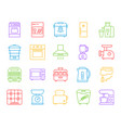 kitchen appliance simple line icons set vector image