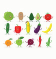 large set of funny fruits and vegetables cartoon vector image