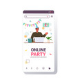 man in festive hat celebrating online birthday vector image vector image