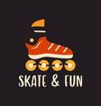 outline logo emblem with roller skate on black vector image