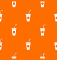 paper cup with straw pattern seamless vector image vector image
