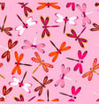 pattern with multiolored dragonflies vector image vector image