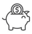 piggy bank line icon finance and economy money vector image vector image