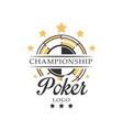 poker championship logo vintage emblem vector image vector image