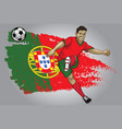 portugal soccer player with flag as a background vector image vector image