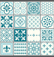portuguese tiles pattern lisbon seamless turquois vector image vector image