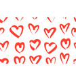 seamless pattern with red hand drawn hearts vector image