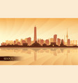 seoul city skyline silhouette background vector image
