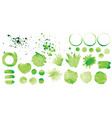 Set green splashes on white background