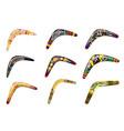 set native boomerangs primitive weapon vector image vector image