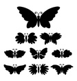 Set of black silhouettes of butterflies vector image vector image