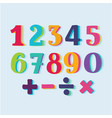set of color paper numbers vector image