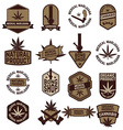 set of Marijuana labels vector image