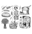 set of wheat and cereals baker and pastry chef vector image