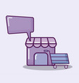 shopping cart with set icons vector image