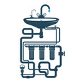 sink with faucet and water pipe system vector image vector image