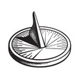 sundial sun clock black and white hand drawn vector image