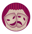 theater- two tragicomic masks and red curtain vector image