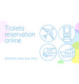thin line ticket reservation banner vector image vector image
