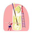 tiny people on ladder put slice lime to big glass vector image vector image