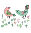 Two stylized birds For your design greeting vector image