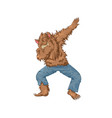 werewolf wolfman character dancing dab step vector image