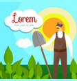 whiskered farmer with shovel in hand square banner vector image vector image
