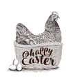 wicker basket with easter bunny spring chickens vector image vector image