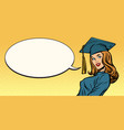woman graduate pop art vector image vector image