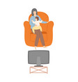 woman with kid sitting in armchair family evening vector image