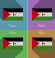 Flags Western Sahara Set of colors flat design and vector image
