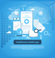 healthcare mobile app template web banner with vector image