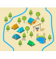 a map of a campsite vector image