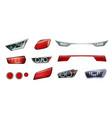 car headlights realistic icon set vector image vector image